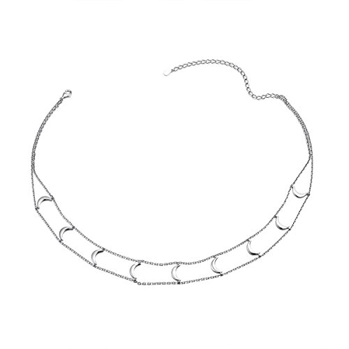 Short Necklace 925 Sterling Silver Double Layered Chain Crescent Moon Choker Necklace for Women Girls, 13