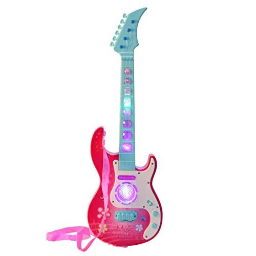 MRKE E Gitarre Kinder 53cm 4 Saiten Rock Spielzeuggitarre Kindergitarre Musikspielzeug Elektrisch Gitarre Geschenk mit LED Beleuchtung für Jungen Mädchen 3-8 Jahre