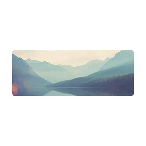 InterestPrint Soft Extra Extended Large Gaming Mouse Pad with Stitched Edges, Desk Pad Keyboard Mat, 31.5 x 12In - Mountain and Lake Mist Landscapes Montana USA Nature Theme