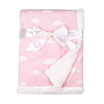 American Baby Company Heavenly Soft Chenille Sherpa Receiving Blanket 3D Pink 30  x 35  for Boys and Girls