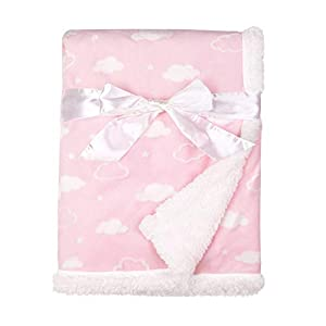 American Baby Company Heavenly Soft Chenille Sherpa Receiving Blanket, 3D Pink, 30″ x 35″, for Boys and Girls