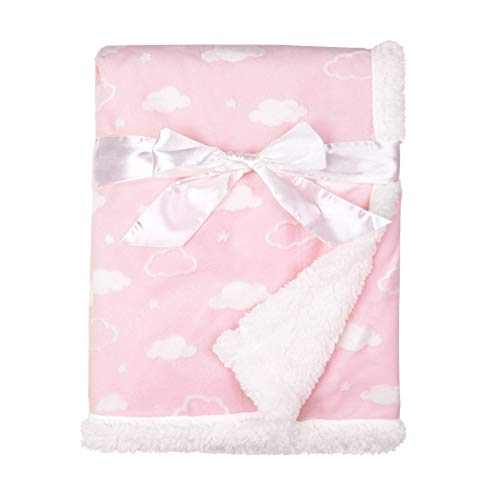 American Baby Company Heavenly Soft Chenille Sherpa Receiving Blanket, 3D Pink, 30' x 35', for Boys and Girls