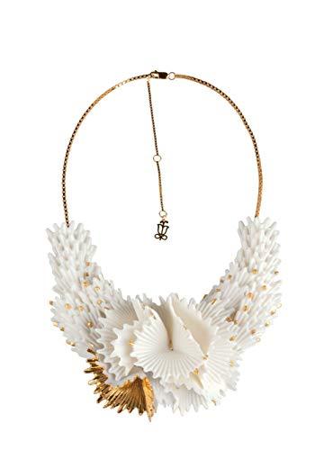 LLADROO Halskette Actinia. Weiß und goldfarbener Kronleuchter Halskette aus Porzellan.