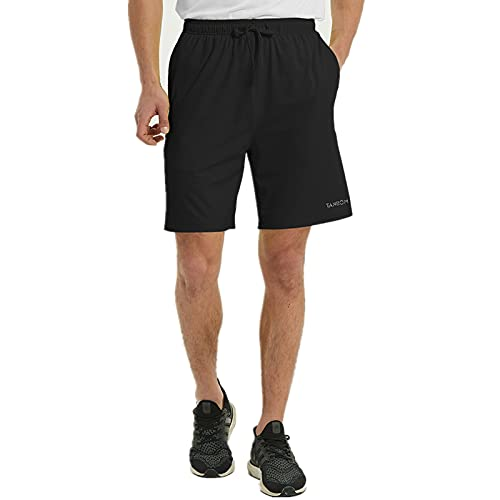 ZONBAILON Mens Athletic Shorts 3XL Big and Tall 7 inch Long with Pockets Elastic Waistband Lightweight Soft Breathable Gym Sports Tranining Workout Shorts Size XXXLarge 48-50 Black