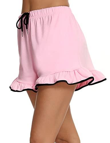 Doaraha Pantalones de Pijamas Cortos Mujer Algodón Pantalon Cintura Elástica Ajustable con Bolsillos Verano Pantalones Suave Transpirable