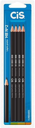 CIS HB N.2 Lápis Preto Redondo e Apontado, Blister 4 Unidades, Preto