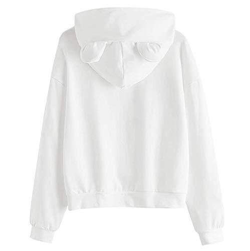 Janly Clearance Sale Camiseta de manga larga para mujer, diseño de gato, con capucha, manga larga, túnica para mujer (blanca-XXL)
