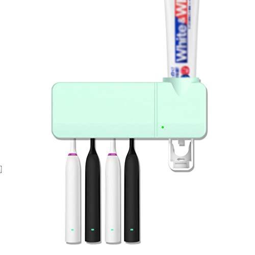Tandenborstel Sanitizer, elektrische tandenborstel houder met Sterilisatie functie, Wall Mounted oplaadbare UV Tandenborstel Houders Badkamer (Color : Green)