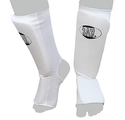 Bay® MT Cotton Spann-Schienbeinschutz Spannschutz Baumwolle Elastik Stoff, Muay Thai, TKD, Thaiboxen weiß, S - XL Ristschutz Ristschoner Ristschützer Ristpolster RIST (XS)