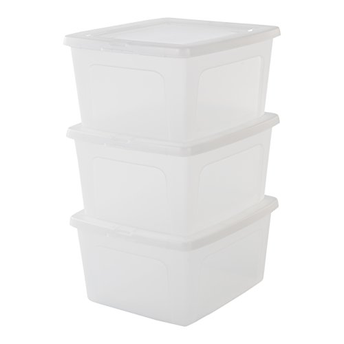 Iris Ohyama, lote de 3 cajas de almacenamiento con tapa Modular Clear Box MCB 18 Plástico, transparente, 18 L, 39,5 x 34 x 19.9 cm, 18L, 3
