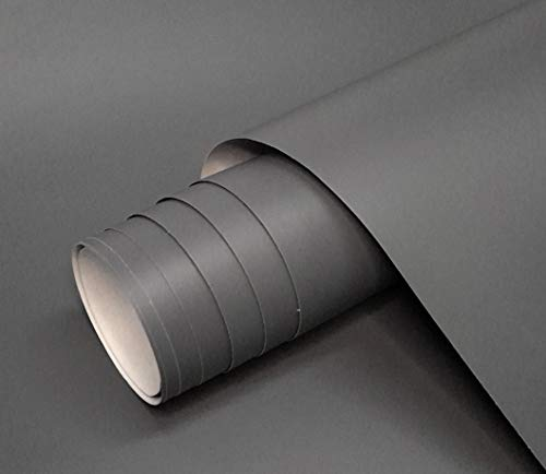 Vinilo Gris Mate Autoadhesivo Para Muebles Tamaño 60x120 cm Combina Colores Blanco Negro Grises Oro Plata Papel Autoadhesivo Para Paredes Cristales Manualidades (GRIS OSCURO)