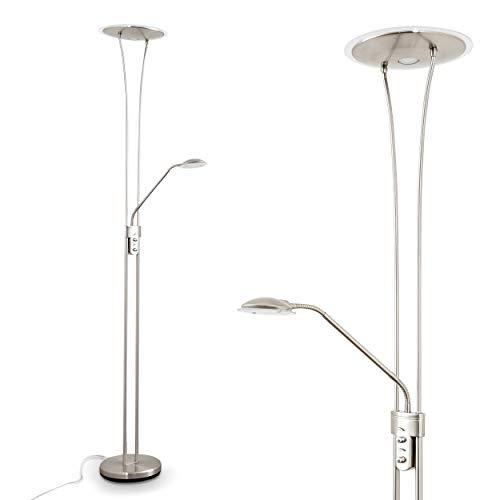 Lampadaire de salon LED Marana avec éclairage indirect vers le plafond et bras de lecture - Lampadaire variateur pourvu de deux dimmers interrupteurs indépendants - Luminaire design minimaliste