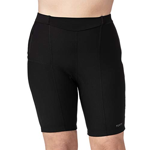 Terry Cycling T-Short Plus - Women Bike Shorts Plus Size Padded Compression - Black - 1X Plus