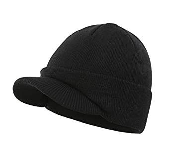 Home Prefer Men s Beanie Hat for Winter Knitted Hat with Bill Daily Beanie Cap Black