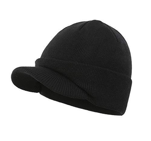 Home Prefer Men's Beanie Hat for Winter Knitted Hat with Bill Daily Beanie Cap Black