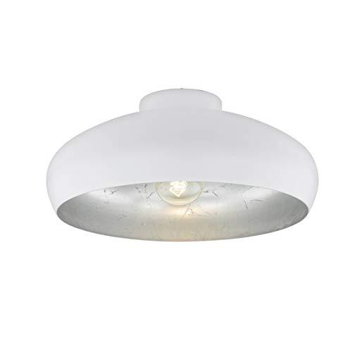 EGLO Deckenlampe Mogano, 1 flammige Deckenleuchte Industrial, Vintage, aus Stahl, Wohnzimmerlampe in Weiß, Silber, Küchenlampe, Flurlampe Decke mit E27 Fassung