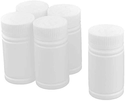 HKYM 5PCS Botella de plástico para medicamentos Contenedor de Almacenamiento Soporte para píldoras portátil Ideal para vitaminas, píldoras, cápsulas, medicamentos y más Blanco 100 ml