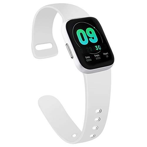 AK kompatibel mit Apple Watch Armband 42mm 38mm 44mm 40mm, Weiche Silikon Sport Ersatz Armband für iWatch Series SE, Series 6, Series 5, Series 4, Series 3, Series 2, Series 1 (Weiß, 42/44mm S/M)