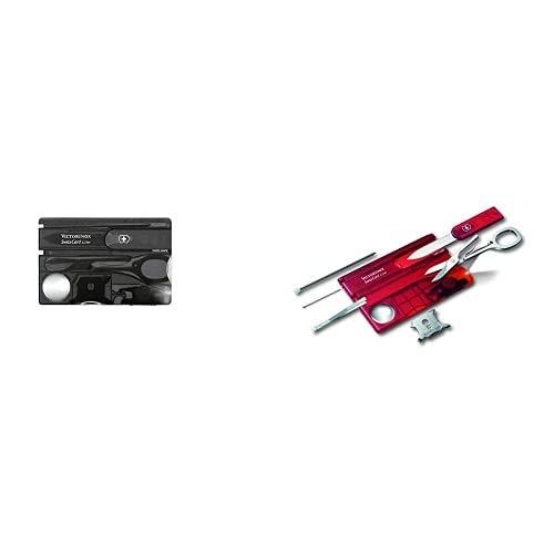 Victorinox Swisscard Lite - Navaja multiusos formato tarjeta, con luz LED, 4,5 x 82 mm, 26 g, color negro + V07300.TB1 Carta Svizzera Liteblister, Rojo, M