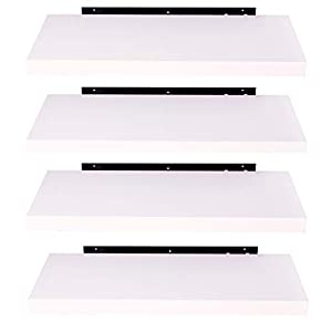 EUGAD Juego de 4 Estantería Pared Madera Blanco Estante Flotante para Colgar Libro CD en Cocina Salon Dormitorio 40cm 0082QJ