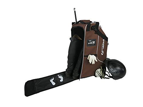 Driver13 ® Reitstiefeltasche Stiefeltasche Deluxe Reitstiefel Tasche mit Helmfach braun