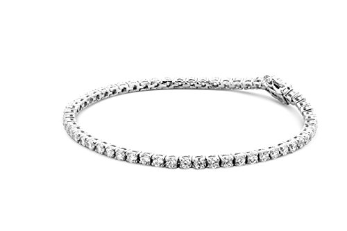 Miore Armband - Armreif Damen Kette Silberfarbig 925 Sterling Silber mit Rundschliff Zirkonia Steinchen