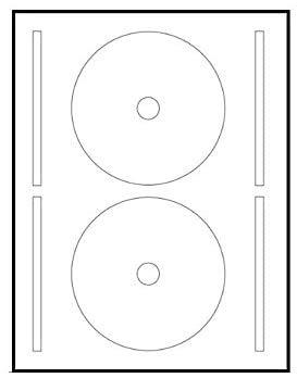 100 Sticky CD - DVD-Etiketten, Durchmesser 117 mm + Loch 17 mm, 2 Etiketten pro Blatt, Platzierungsvorlage enthalten.