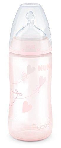NUK Baby Rose First Choice Plus Babyflasche, kiefergerechter Trinksauger, 300 ml, 0-6 Monate, 1 Stück, rosa