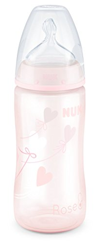 NUK Baby Rose First Choice Plus Babyflasche, kiefergerechter Trinksauger, 300 ml, 0-6 Monate, 1 Stück, rosa