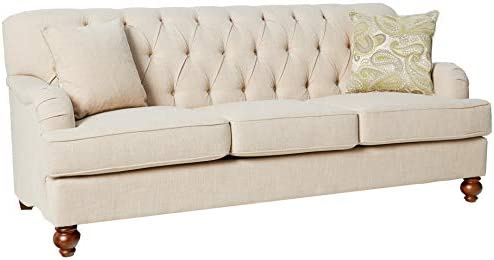 "Best Homelegance Clemencia 85"" Linen-Like Upholstered Sofa, White"