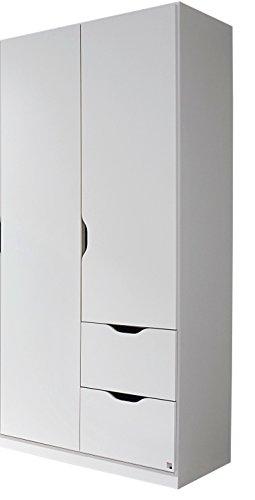 Rauch Kleiderschrank 2-türig mit 2 Schubkästen 91 x 197 x 54 cm alpinweiß skandinavisch Kinderzimmer Jugendzimmer