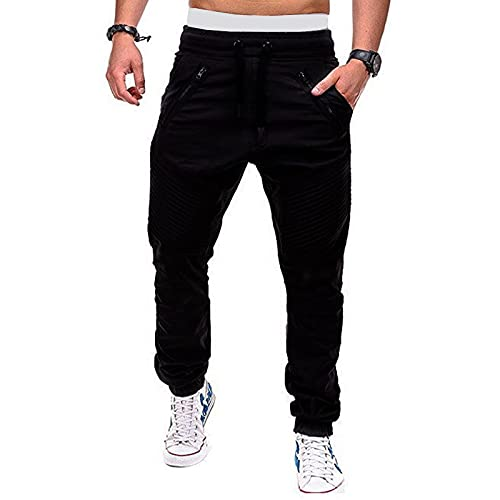 Men's Casual Pants Fashionable and Handsome Casual Drawstring Elastic Waist XL Black