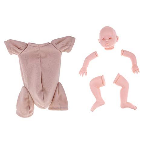 Sharplace Kit de Cabeza + Brazos + Piernas de Muñeca Bebé Recién Nacido de Silicona Suave con Ropa para Muñeca DIY - 20 Pulgadas