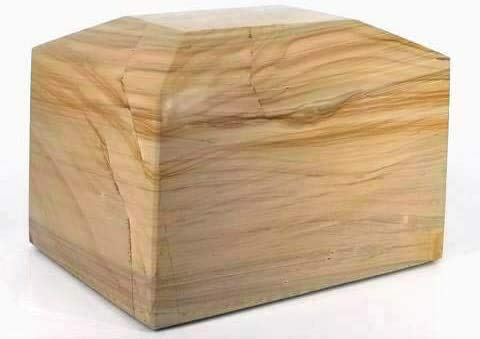 Khan Imports Natural Stone Urn Vault for Burial, Marble Cremation Urn Box for Adult Ashes - Large