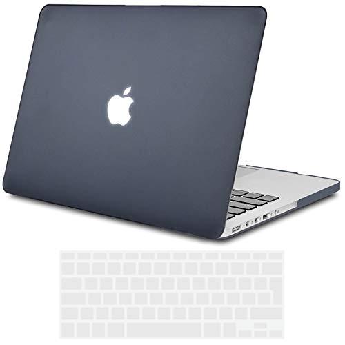 TECOOL Funda para MacBook Pro 15 Pulgadas con Retina Display, Plástico Dura Case Mate Carcasa con Tapa del Teclado para 2013-2015 MacBook Pro 15 Retina (Modelo: A1398) -Negro Claro