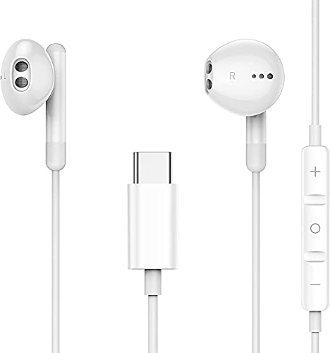 Auriculares USB/Tipo C in-Ear Earphones con Cancelación de Ruido con Micrófono y Control de Volume para Google Pixel 2/3/4/XL, Huawei P30 P20 /Mate 20,iPad Pro 2018, OnePlus 6T, Xiaomi mi 8,HTC