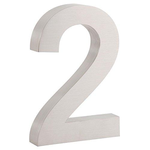 Zelsius roestvrijstalen huisnummer, V2A roestvrij staal, mat geborsteld, 3D look, lettertype: Arial, verschillende cijfers naar keuze 0-9 (H) 20 x (T) 3 cm 2