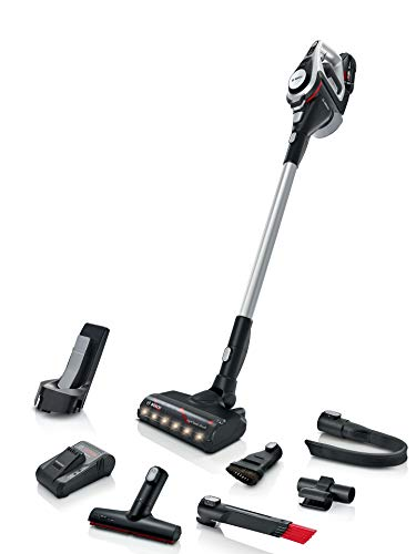Bosch Akku-Staubsauger Unlimited ProPower Serie 8 Gen2 BSS82SIL1, kabelloser Handstaubsauger, beutellos, Hygiene-Filter, hohe Saugleistung, schnelles Laden, XXL-Polsterdüse, weiß