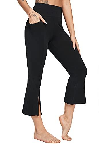 FITTOO Pantalones Bootcut Yoga Sueltos Cintura Alta Mujer Pantalones Largos Suaves Cómodos Negro L