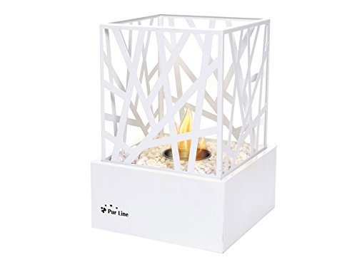 PURLINE AMALTEA W Biochimenea de sobremesa para uso interior o exterior con diseño moderno color blanco