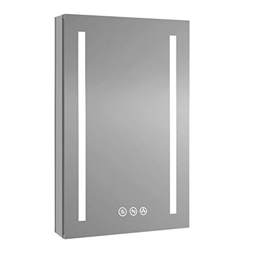 Recessed or Surface LED Mirror Medicine Cabinet with Defogger, Dimmer, Outlets & USB Ports (20x32/Left Hinge)