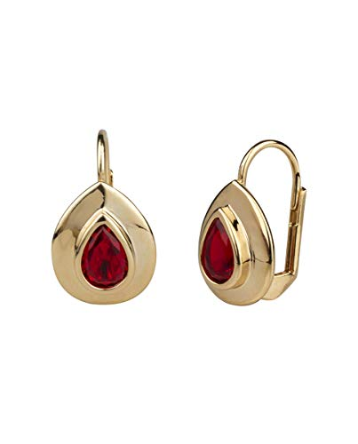 VIDAL & VIDAL Pendientes Oro 18 Ktes Cristal Ruby cierre Ballestilla