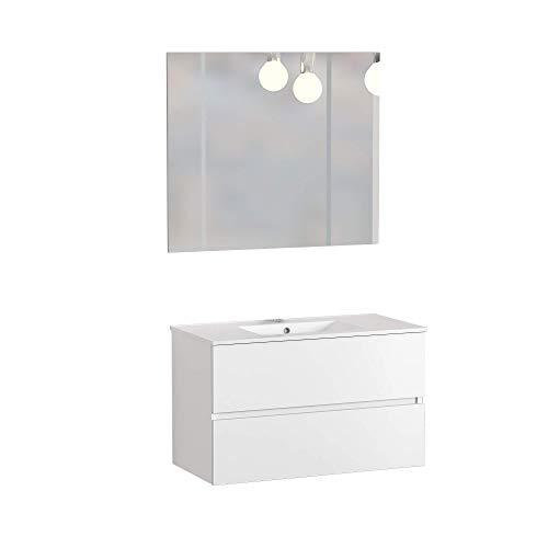 Baikal 830134011 Conjunto de Muebles de Baño con Lavabo y Espejo, Suspendido a la Pared, Dos Cajones, Melamina 16mm, Blanco Mate, 80 X 55 X 46 cm