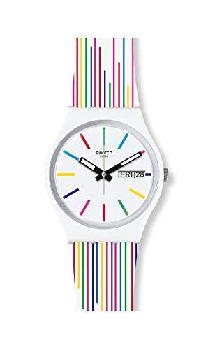 Swatch Damen Analog Schweizer Quarz Uhr mit Silicone Armband GW712