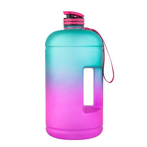 ZXCVB Botella de agua, pintura en aerosol de gradiente de dos colores PETG frascos de vacío de plástico de 1 galón, 3,78 l (color: azul, tamaño: 3,78 L)