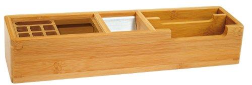 Wedo 611007 Butler Bambus, 2 Fächer, 2 Stifteinsätze, 1 Alu Einsatz für Büroklammern, 31,8 x 6,8 x 6 cm, im Geschenkkarton, braun