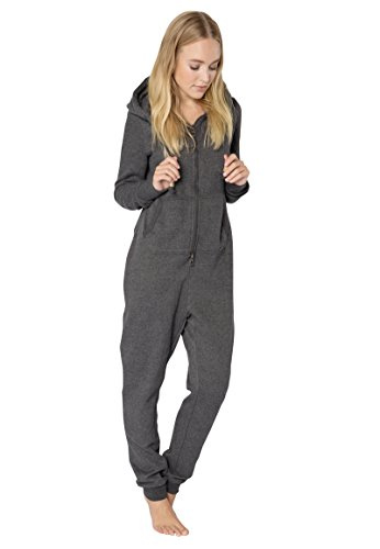 Eight2Nine Damen Sweat Jumpsuit Overall mit Reißverschluss Dark-grey1 S/M