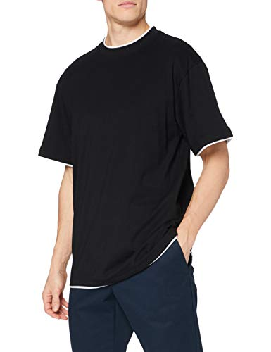 Urban Classics - T-Shirt Manches Longues Homme, Multicolore (Black/White), XXXXXXL