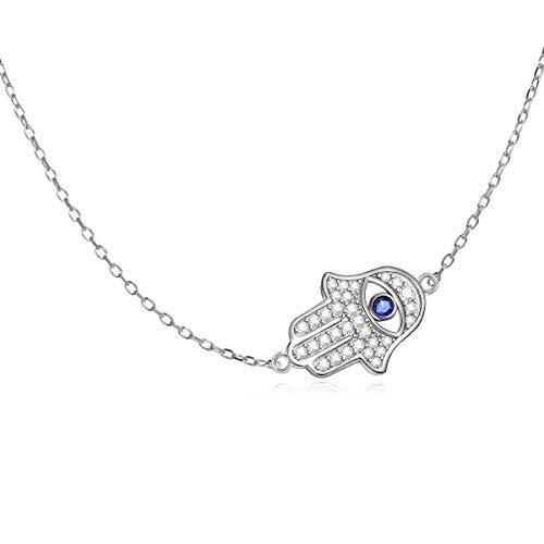 LONAGO Argent Sterling 925 Collier de Main Hamsa Bonne Chance Bleu Mauvais œil Collier Bijoux pour Femmes