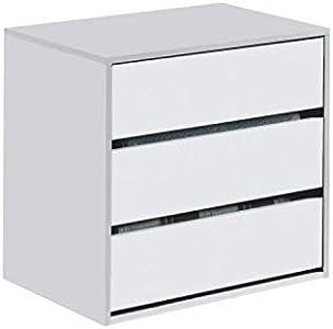 Habitdesign Cajonera Auxiliar 3 cajones, Blanco Mate, 60 cm (Ancho) x 57 cm (Alto) x 44 cm (Fondo)
